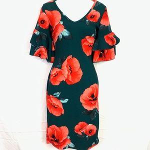 OLIVIA MATTHEWS Green Floral Bell Sleeve Dress  S